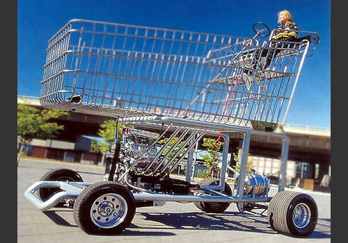 Funny Shopping Carts On Car